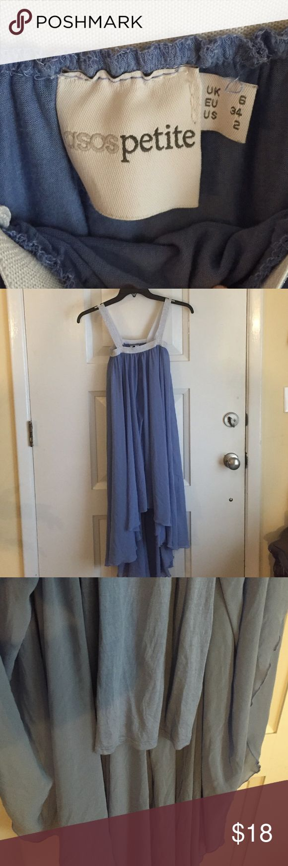 🔹Asos petite dress size 2🔹 Adorable blue and silver dress. It's high in the front and low in the back. The straps are silver and made from elastic. The outer material is sheer and there is a cotton layer under it that goes to your mid thigh. Very cute! Great shape! Hand wash and let air dry ASOS Petite Dresses High Low