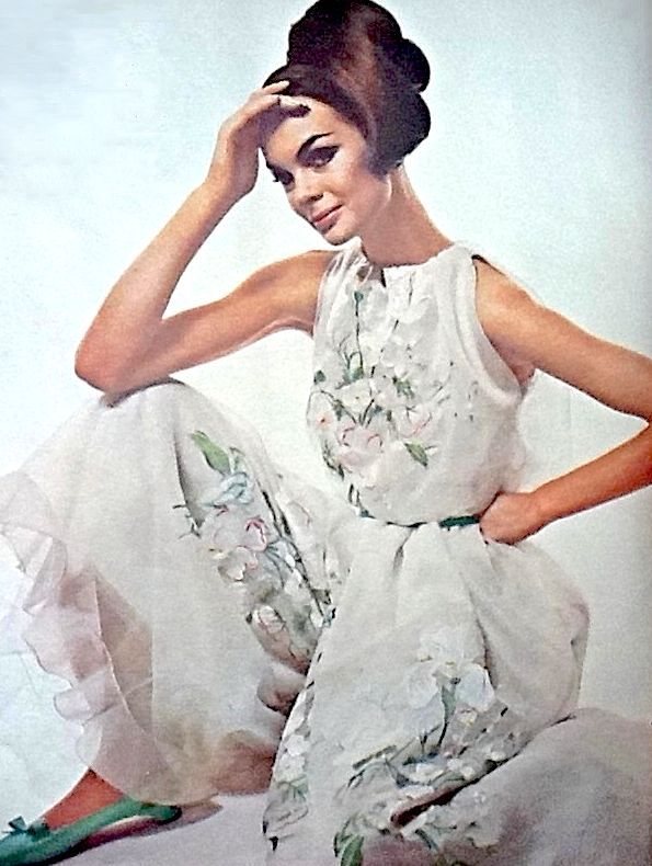 Jean Shrimpton in Dior photographed by David Bailey for Vogue UK, March, 1964.