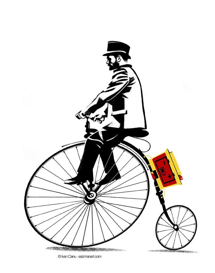 e-biker, © Ivan Canu for Die Zeit, ph. editor: Dirk Claus, salzmanart.com #biker #men fashion #steampunk #elegance #editorial #magazine #vintage #digitalart #illustration