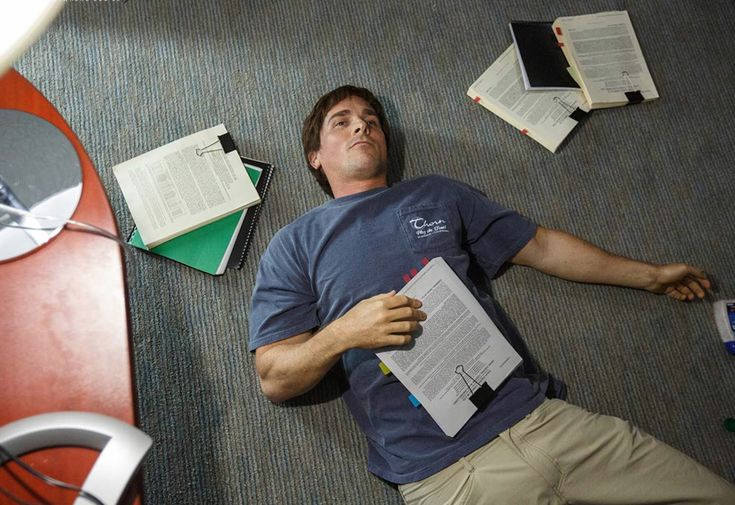 """The Big Short"" movie still, 2015.  Christian Bale as Michael Burry."