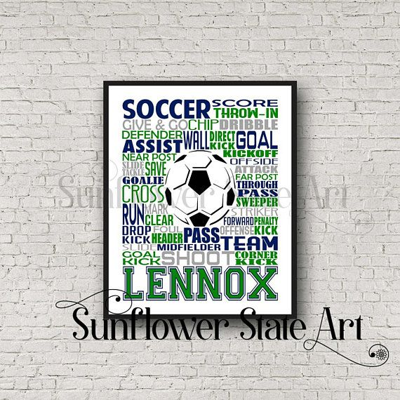 Personalized Soccer Poster Girls Soccer Typography Gift for
