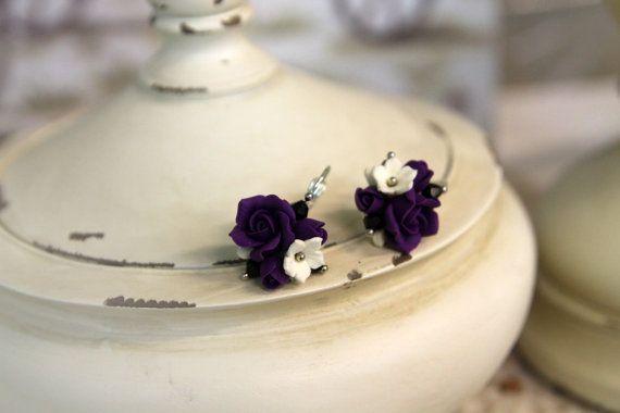 Polimero argilla orecchini, gioielli fatti a mano fiori, Orecchini floreali, fiore palla orecchini, orecchini piccoli, fiori viola, fiori argilla…