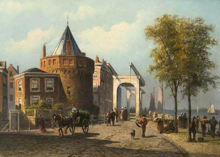 Prins Hendrikskade and the Schreierstoren. Amsterdam +/- 1870. Artist: Eduard Alexander Hilverdink
