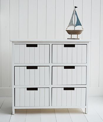 Beach free standing bathroom cabinet furniture with 6 drawers White