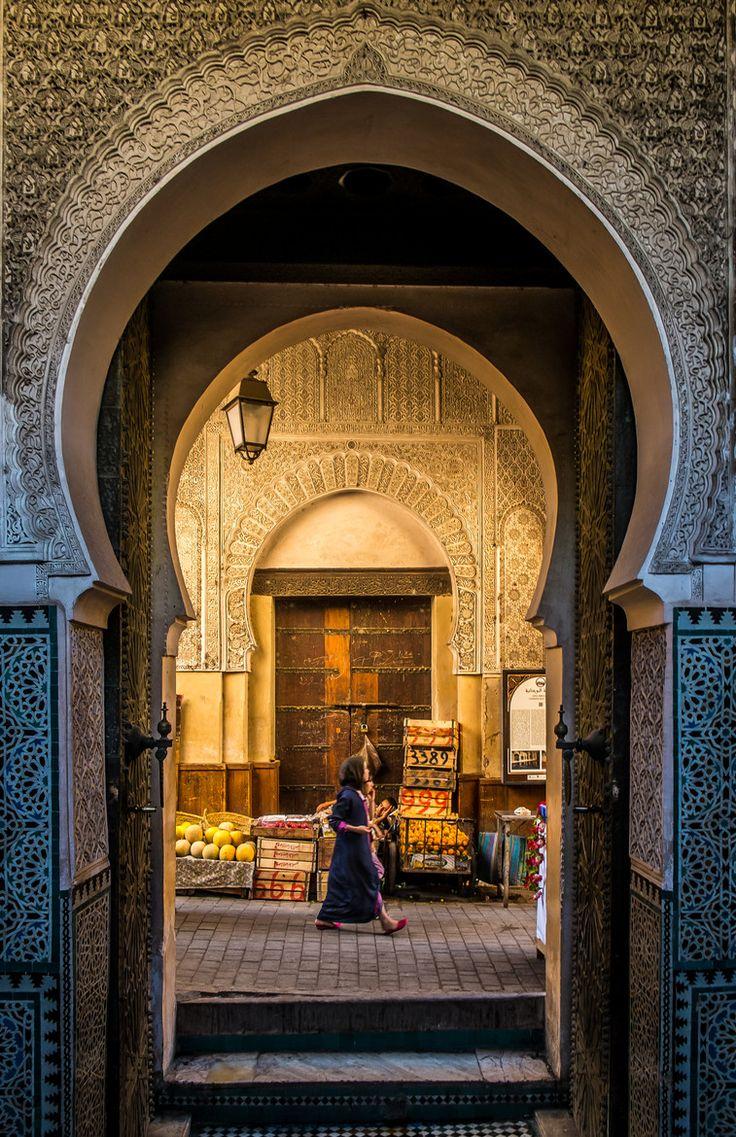 Door to old Medina, Fez, Morocco