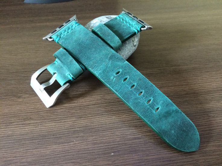 Handmade Apple Watch Band | Apple Watch Strap | Leather Watch Band | Green Leather Watch Strap For Apple Watch 38mm & 42mm - Series 1 and 2 by EternitizzzStrap on Etsy https://www.etsy.com/listing/246164961/handmade-apple-watch-band-apple-watch