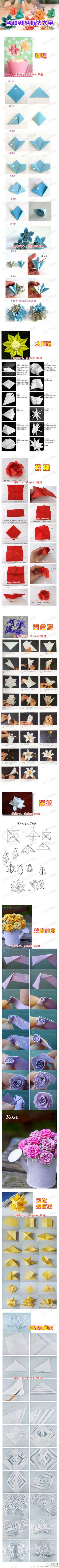 oragami - how to's. This is a long picture, but if you go to the site they are easier to see. Great tutes on how to do some really pretty things. The roses are my fav.