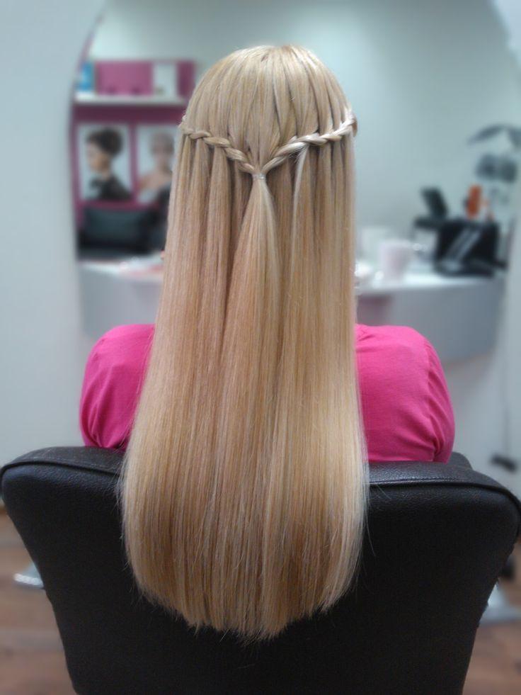 Beautiful long blond hair with waterfall braid. Hair by Emmi/Parturi-kampaamo Salon Maria Seinäjoki