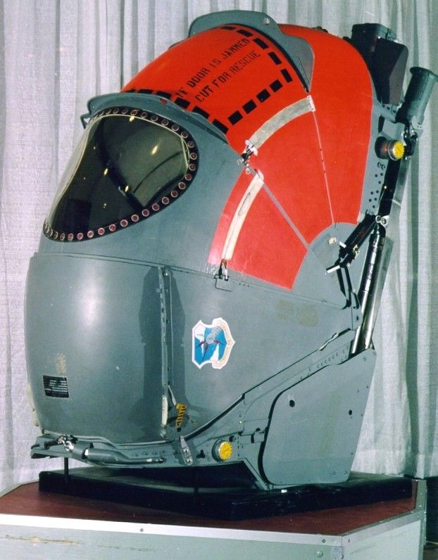 Convair B-58 Hustler escape pod - the same principle was considered for astronauts in the event of a catastrophic problem during launch or reentry.  Perhaps worth revisiting?