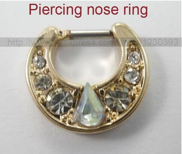 Unique 316l Surgical Steel Big Gem Aztec Septum Clicker Nose Ring