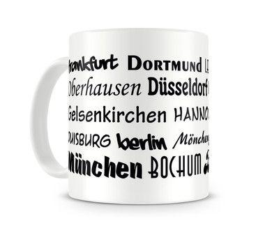 Tasse mit dem Motiv Städtenamen Deutschland. Eine Tasse bedruckt mit dem Motiv…