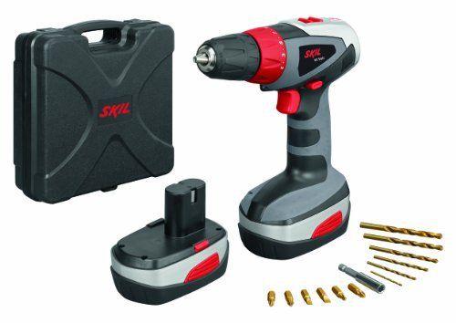 Skil 1003 PP Perceuse sans fil batterie 18 V Ni-Cd, 36 Nm et double sens de transmission + 12 forets en titane, 2 batteries et 1 coffre de…
