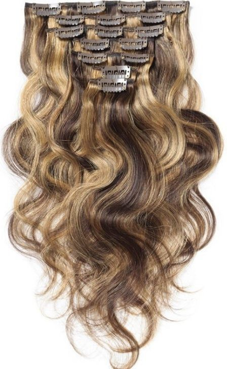 Clip in extension set bruin blond  #4/27/ 120 gram / 50 cm