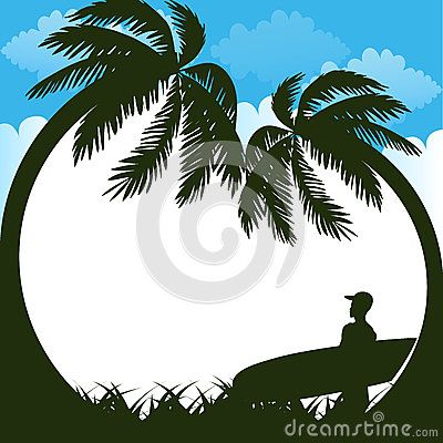 Summer is coming text on  summer beach background. Vector illustration.