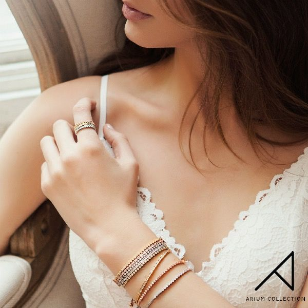 Summer is around the corner, time to shed those layers of clothes and layer your jewellery instead!  Featured: Ria Collection rings and bracelets  Materials: 16K gold, rhodium and rose gold plated brass, cubic zirconia. Lead & nickel free!  #ariumcollection #bracelet #goldplatedbrass