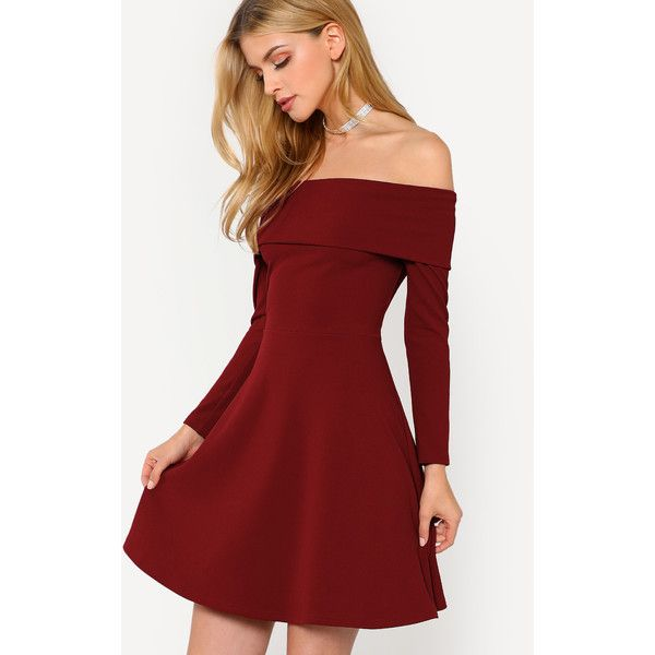 f2f26cf32aeb SheIn(sheinside) Fit & Flare Fold Over Bardot Dress ($18) ❤ liked on Polyvore  featuring dresses, short party dresses, red dresses, off-shoulder dresses,  ...