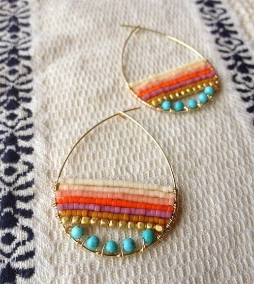 SFC Design: Slow Jewelry, beaded hoops - great choice of bead colors and shapes.  Pretty! - Picmia
