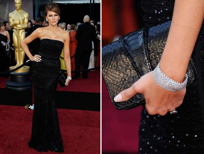 In a strapless sequin gown paired with a chunky bracelet and a black leather clutch at the 83rd Annual Academy Awards on Feb. 27, 2011, in Hollywood, California.