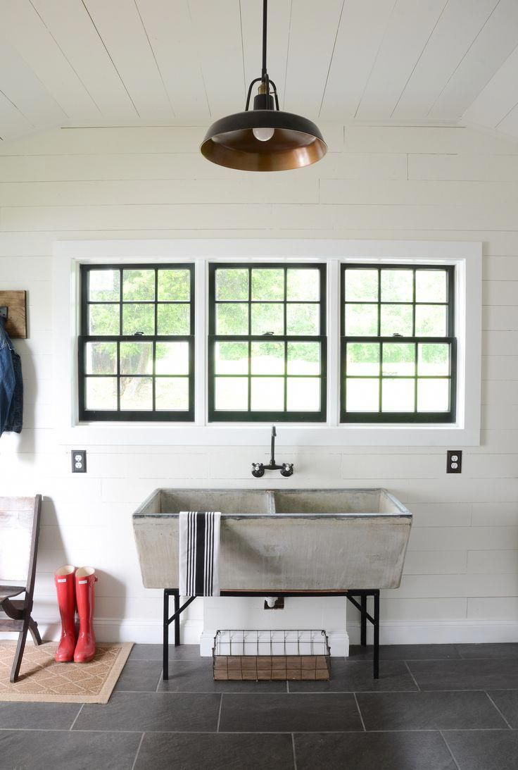 Check Out This Vintage Concrete Sink In This Modern Farmhouse