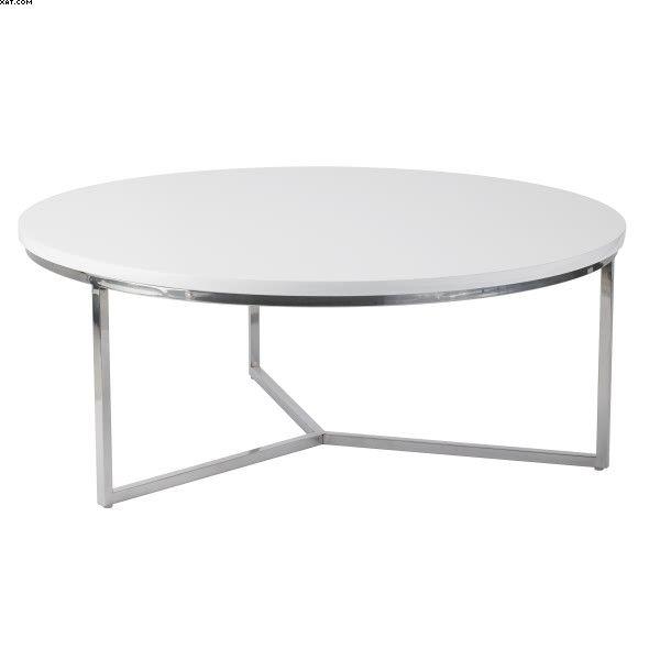 Table basse en métal blanc brillant