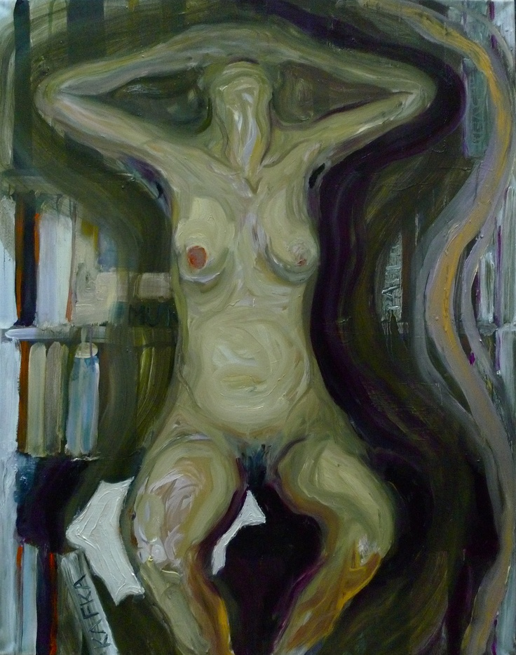 Camille and her bookshelf, Oil on canvas, 100x80cm, by Per Adolfsen