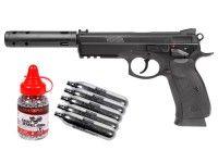 CZ 75 SP-01 Shadow CO2 BB Pistol Kit: 21rd Mag, Rubber Grips, Accessory Rail #AirGuns #AirSoftGuns #AirGunAccessories