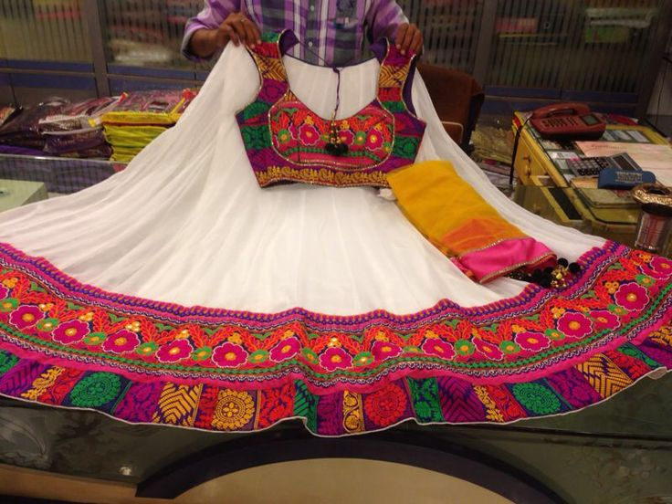 White Gujarati Style Chaniya Choli In 2019 Garba Dress