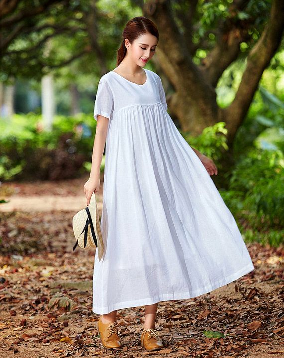 White Beach Dress Summer Holiday Trip Maxi Linen Dress.