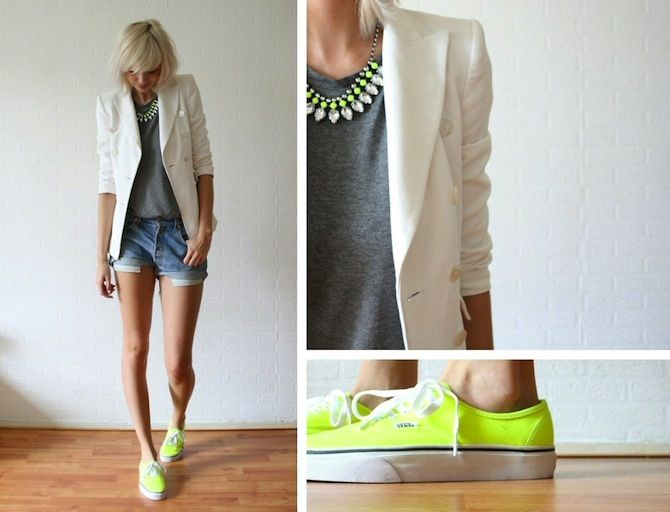 -: Neon Vans, Fashion, White Blazer, Style Inspiration, Outfit, Casual, Summer, Styles
