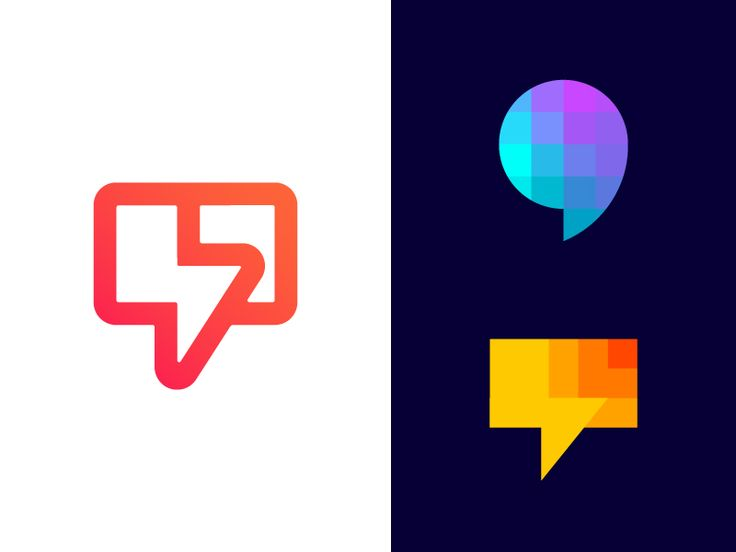 Chat bubble logo exploration | Message and notification app by Vadim Carazan