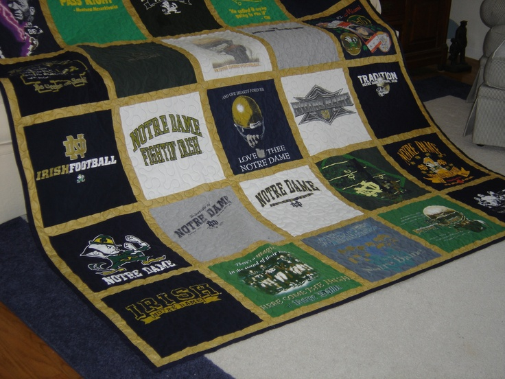 A Quilt Made Of 30 Notre Dame Tee Shirts Made For A