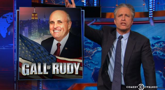 Jon Stewart skewers belligerent asshole Rudy Giuliani for being the insignificant has been he is !!!