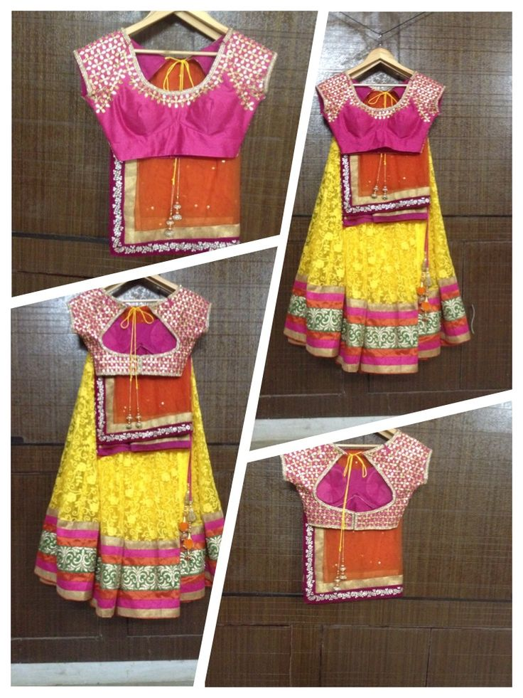Let this outfit make your fashion statement..Stunning Lengha by Pareesa Boutique..Rich Yellow color Thread embroided net lengha fabric, with Pink raw silk gota patti blouse and orange Duppatta with velvet border.. #lehenga #choli #indian #shaadi #bridal #fashion #style #desi #designer #blouse #wedding #gorgeous #beautiful#HalfSaree