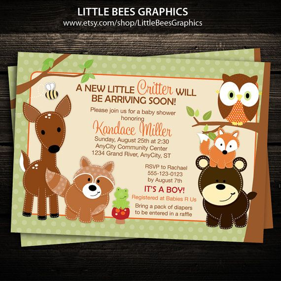 Woodland Baby Shower Invitation  5x7 printed by LittleBeesGraphics                                                                                                                                                                                 More