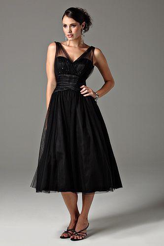 calf length bridesmaids dresses | Size Inexpensive Black Sweetheart Chiffon Tea Length Bridesmaid Gowns ...