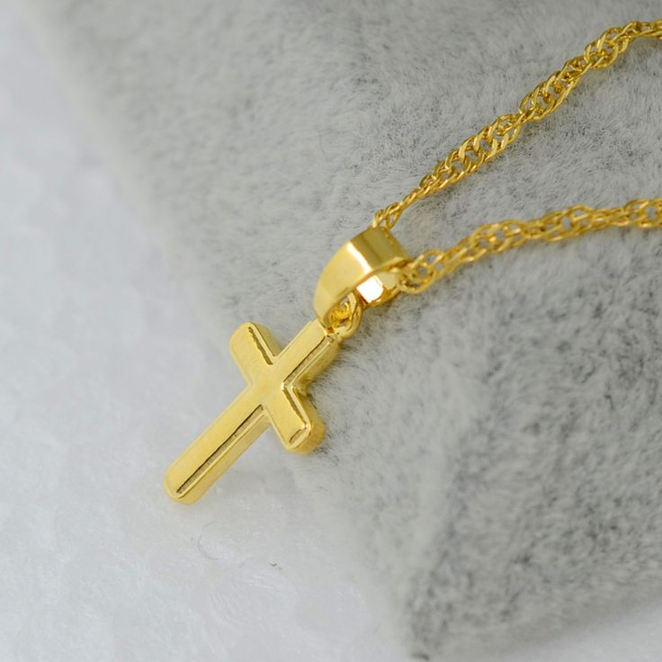 Kleine gouden kruis hanger ketting vrouwen meisje kids, mini charm hanger vergulde sieraden kruisbeeld Christian Ornamenten #051002