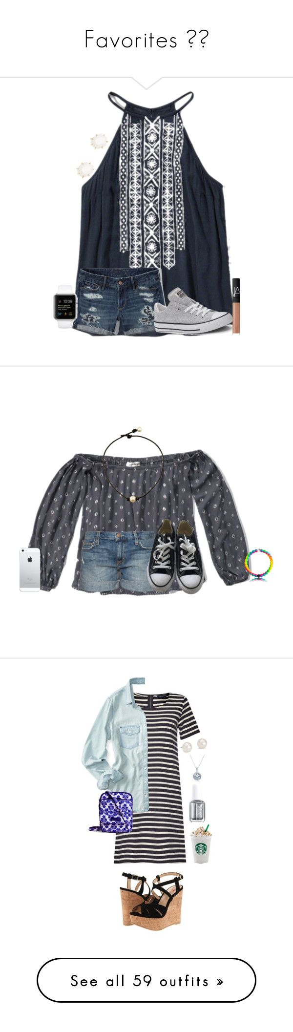 """""""Favorites """" by leighannalane ❤ liked on Polyvore featuring Abercrombie & Fitch, Converse, Kendra Scott, NARS Cosmetics, Current/Elliott, French Con…"""