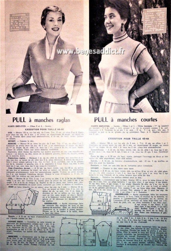 Gratuit 55 Patrons Tricot Vintage 1955 Free Knitting Patterns