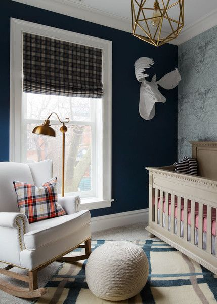 Contemporary Traditional Kids' Room: Bright eclectic kids room with gold ceiling light and striped area rug..