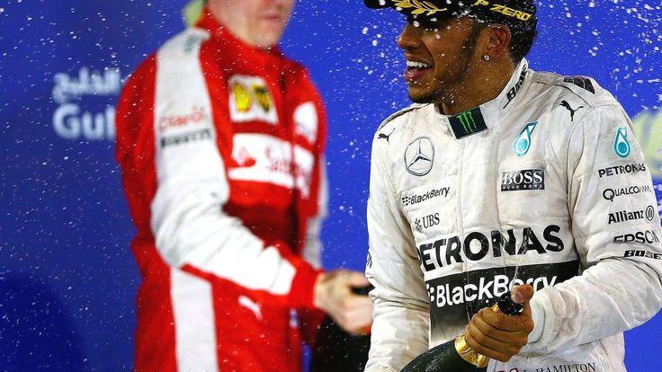 R4: Lewis Hamilton wins Bahrain Grand Prix Hamilton wins after last-minute brake problem Raikkonen takes 2nd on penultimate lap after Rosberg error Rosberg 3rd with same brake problem