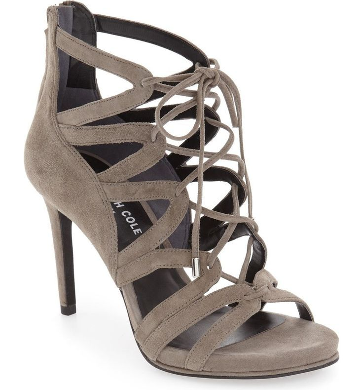 Sleek suede straps define this lofty open-toe #sandal that's ready to step out on the town.