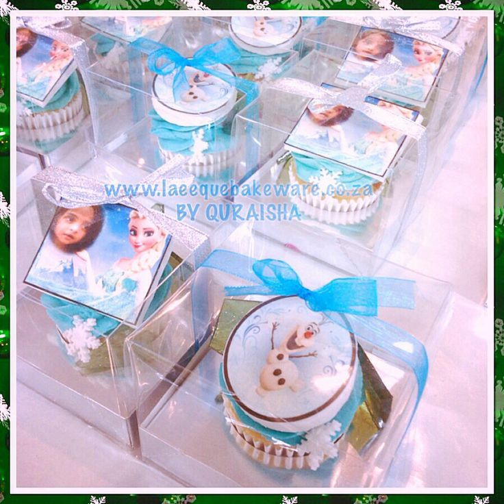 Frozen cupcakes individually wrapped topped with sugar crystal and snowflake