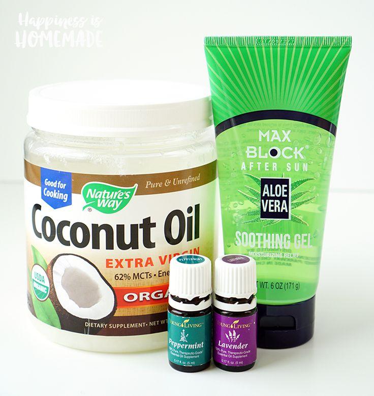 Ingredients for DIY Homemade Sunburn Relief Cream Salve