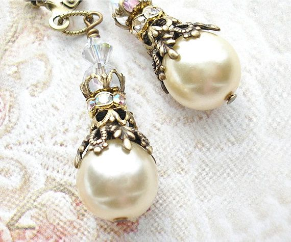 Vintage Glas Perle Ohrhänger Ohrringe viktorianischen Stil