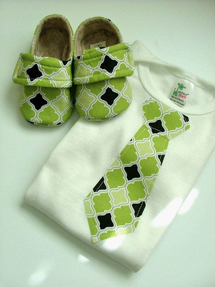 TIE Baby Boy Shoe/Onesie Combo Green DIY version for B's boy and baby boy to come. Perhaps w/ UK flag print for ties?