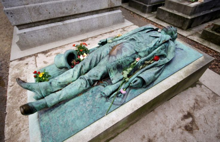 Père-Lachaise - The most photographed grave in the Pere Lachaise cemetery in France.