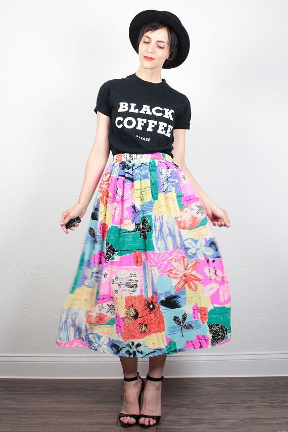 Vintage 1980s Skirt Midi Skirt New Wave Neon Rainbow Novelty Graffiti Print Silk Skirt 80s Skirt Mod Hipster Knee Length Skirt M Medium L by ShopTwitchVintage #vintage #etsy #80s #1980s #skirt #midi #silk #rainbow #midiskirt #novelty