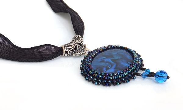 Charisma Beaded Pendant with Silk Ribbon | Felt