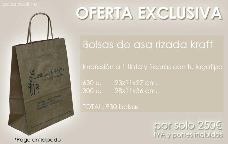 Oferta de bolsas de papel para publicitar tu negocio, ideales para verano! Visita www.bolsapubli.net