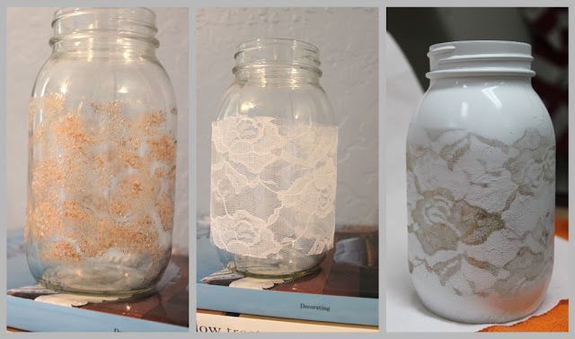 DIY Lace Vase- I can replicate this on glass cylinders